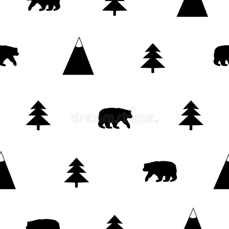 Modelo inconsútil con el oso negro, las montañas y el abeto en libre illustration