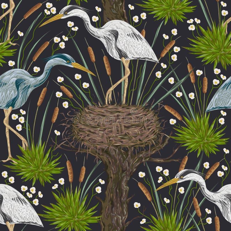 Modelo inconsútil con el pájaro de la garza, las plantas viejas del árbol, de la jerarquía y de pantano Flora y fauna del pantano ilustración del vector