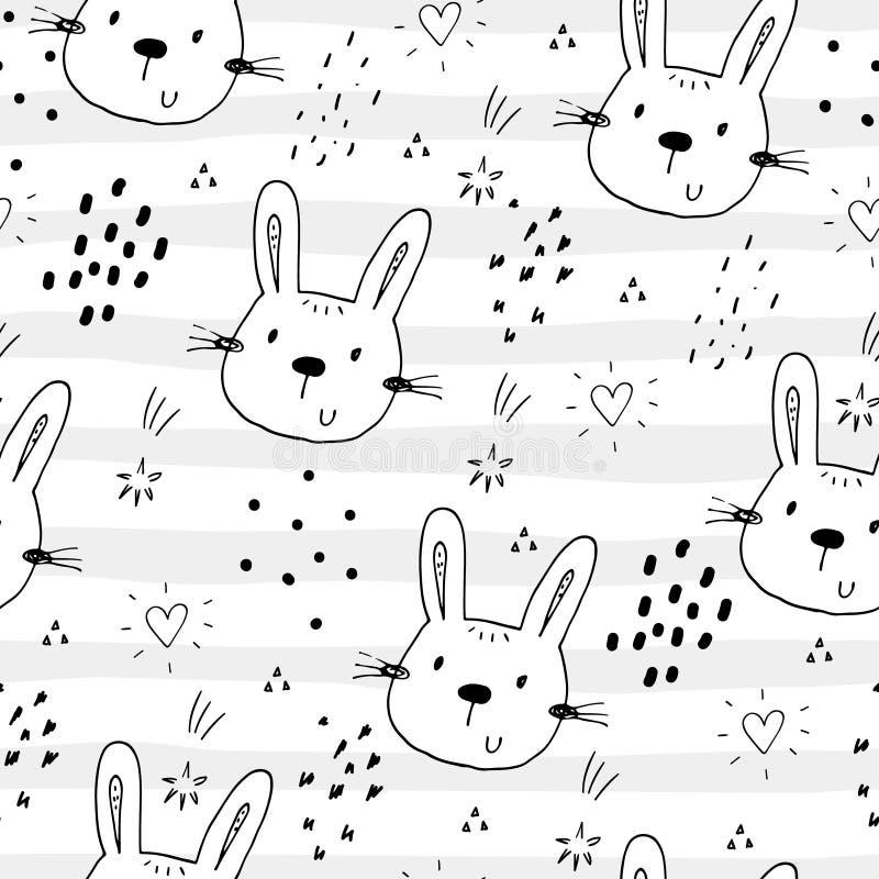 Modelo inconsútil con el pequeño conejito lindo Ilustración del vector libre illustration