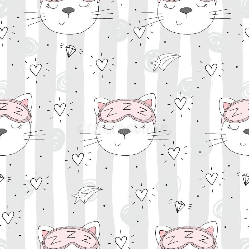 Modelo inconsútil con el pequeño gato lindo Ilustración del vector libre illustration