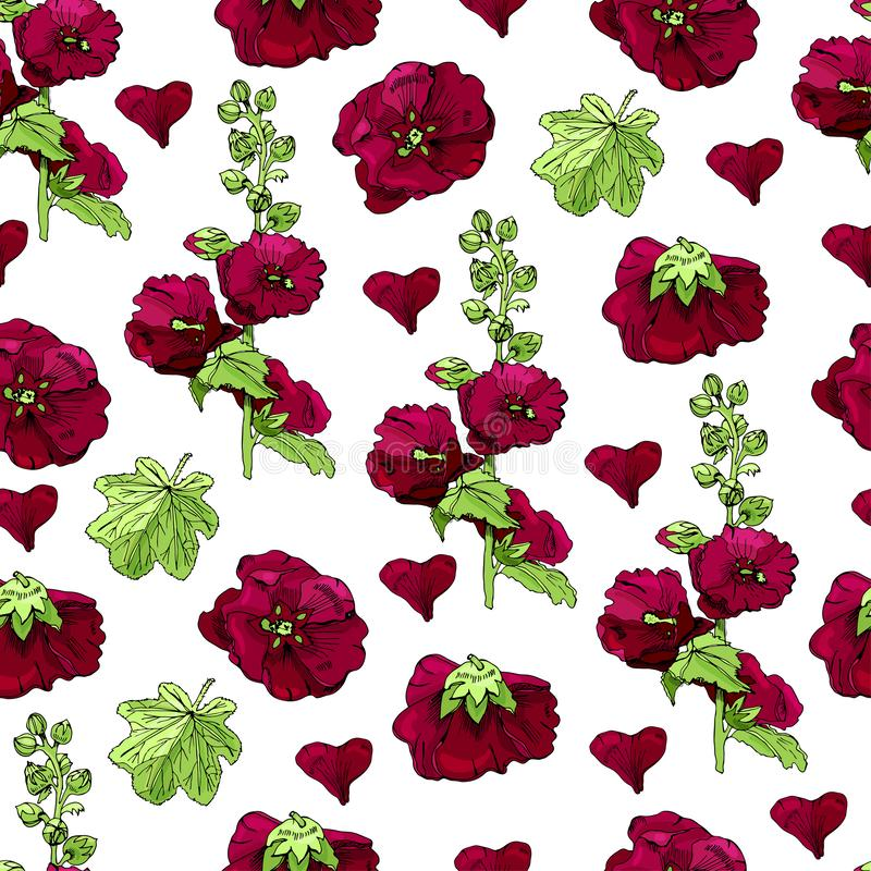 Modelo inconsútil con el ramo y las solas flores de la malva de Borgoña y de hojas verdes Tinta exhausta de la mano y bosquejo co stock de ilustración