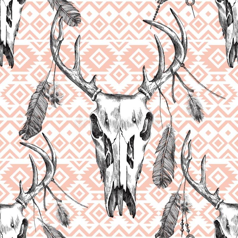 Modelo inconsútil con el scull de los ciervos, las plumas y los ornamentos tribales ilustración del vector