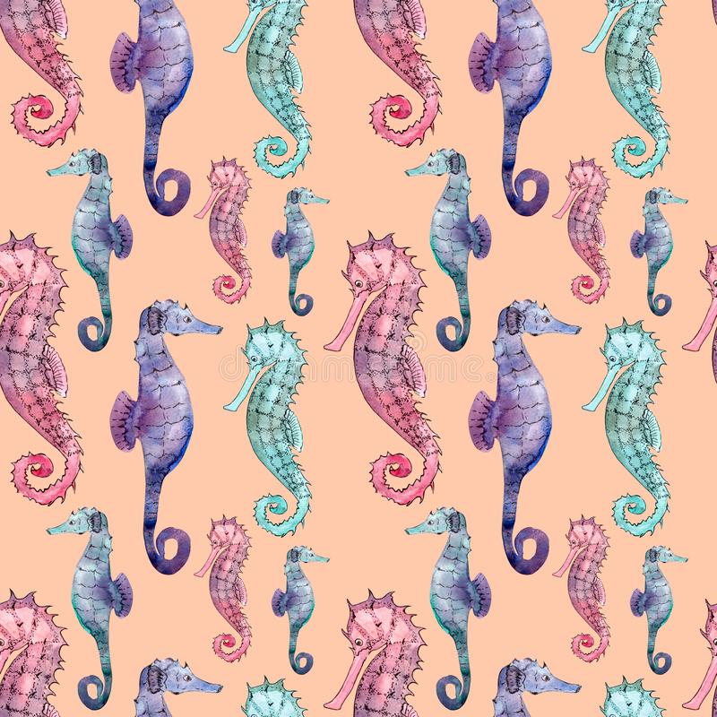 Modelo inconsútil con el seahorse ilustración del vector