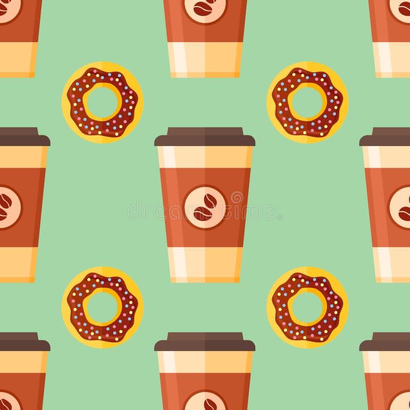 Modelo inconsútil con el takeaway del café y el buñuelo esmaltado del chocolate stock de ilustración
