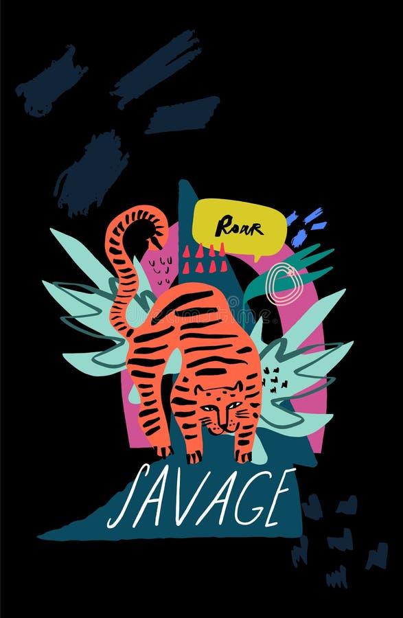 Modelo inconsútil con el tigre lindo y las plantas tropicales Estilo infantil de la historieta, bueno para la tela y materia text libre illustration