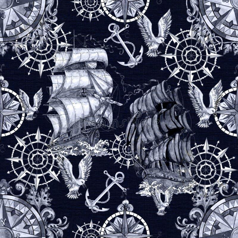 Modelo inconsútil con el velero viejo, el ancla, la gaviota y el compás náutico en azul stock de ilustración