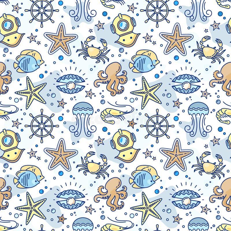 Modelo inconsútil con el volante, cangrejo, perla, estrella de mar, camarón, escafandra autónoma de los niños del mar libre illustration