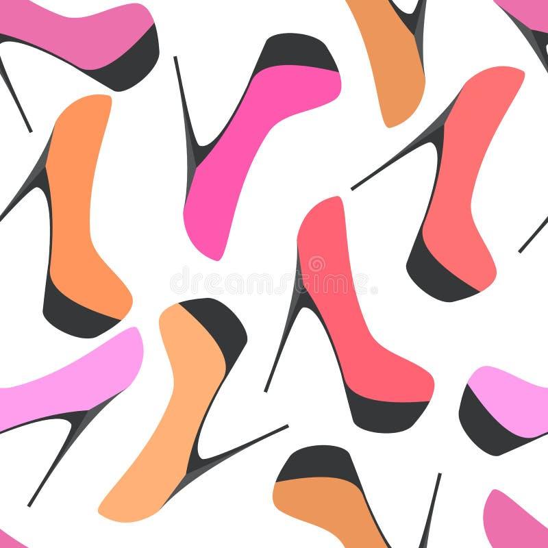 Modelo inconsútil con el zapato de las mujeres de las siluetas stock de ilustración