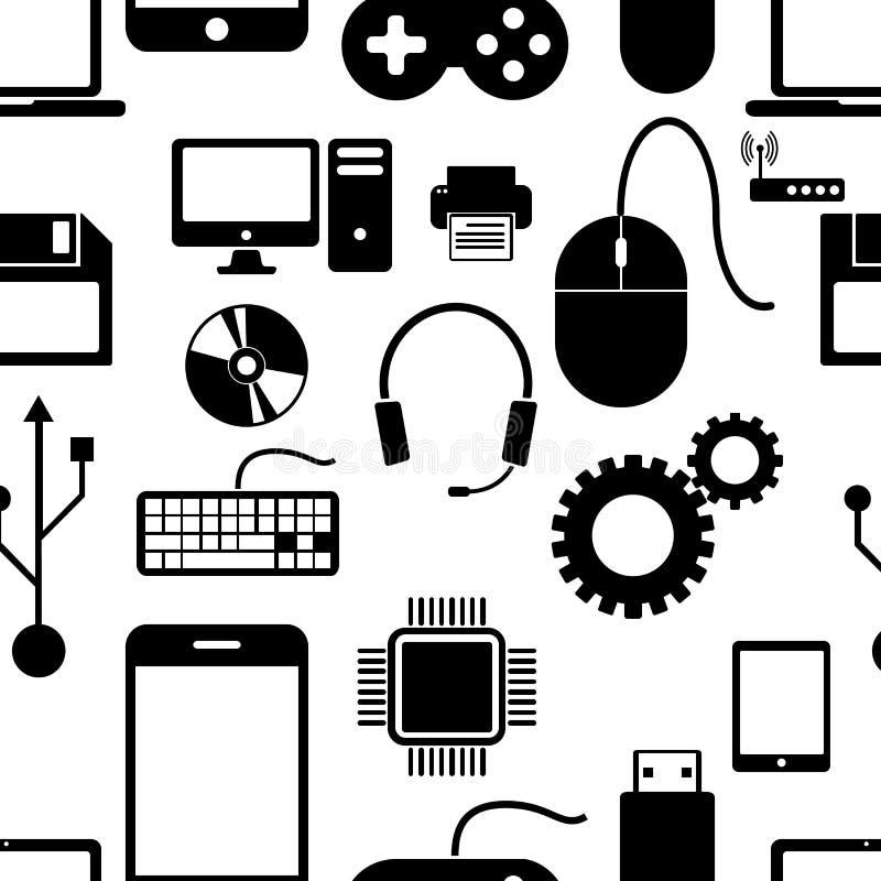 Modelo inconsútil con electrónica, ordenador negro de los iconos libre illustration