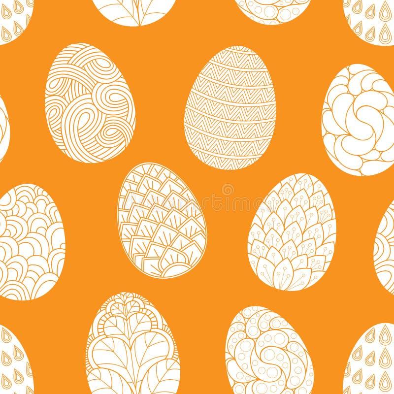 Modelo inconsútil con garabatos exhaustos de los huevos de Pascua de la mano en fondo anaranjado Fondo del vector ilustración del vector