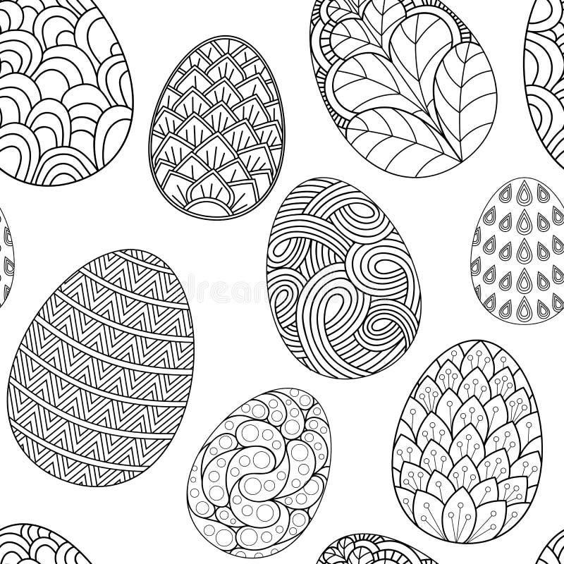 Modelo inconsútil con garabatos exhaustos de los huevos de Pascua de la mano Fondo del vector ilustración del vector