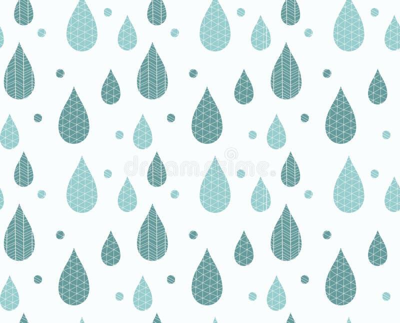 Modelo inconsútil con gotas y dibujos lineales ornamentales de lluvia ilustración del vector