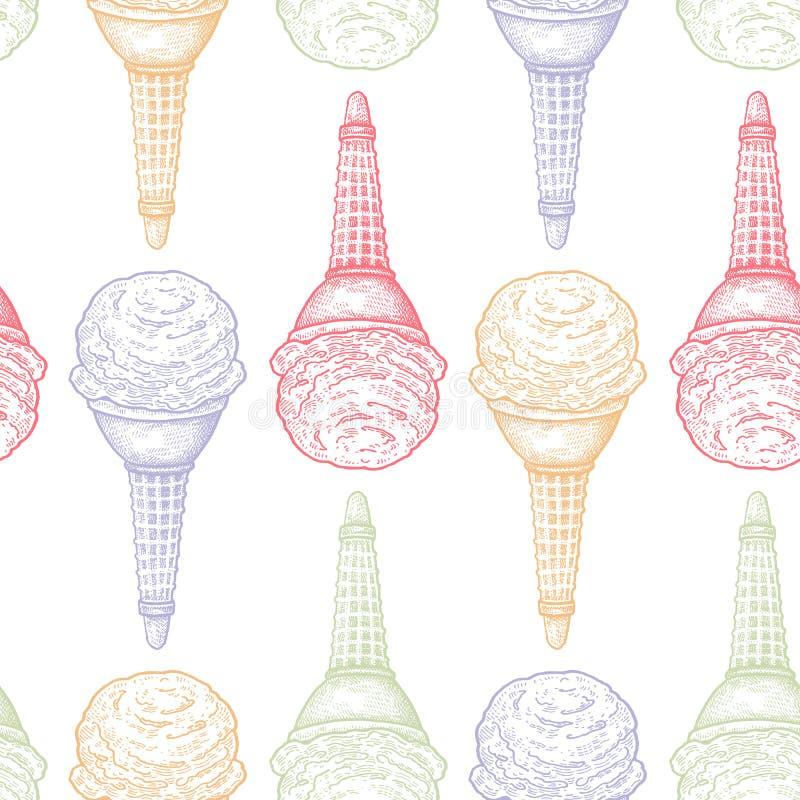 Modelo inconsútil con helado stock de ilustración