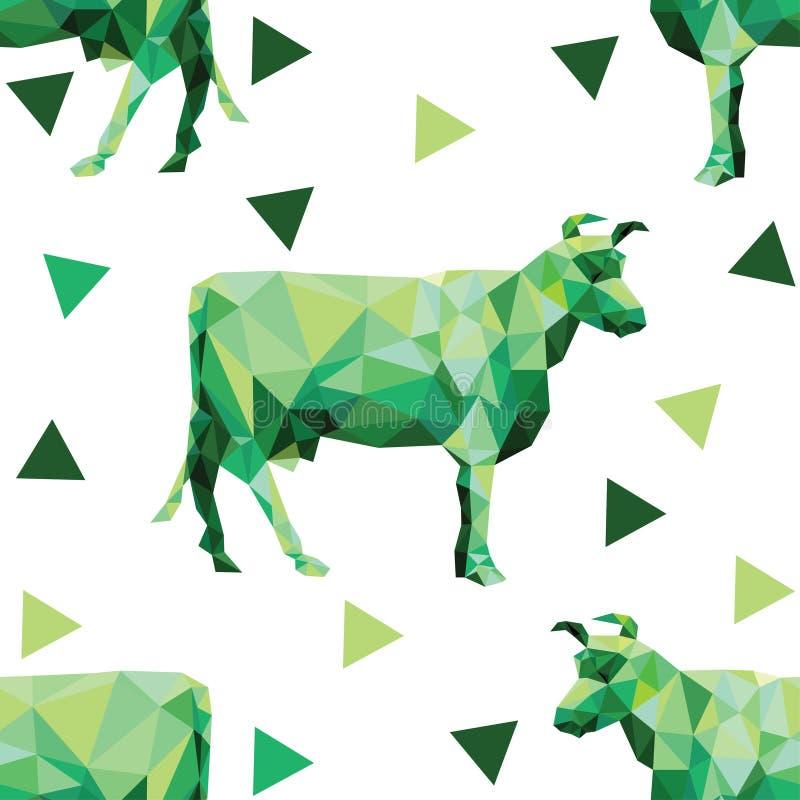 Modelo inconsútil con imágenes poligonales de vacas y de triángulos libre illustration