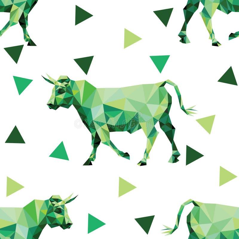 Modelo inconsútil con imágenes poligonales de vacas y de triángulos ilustración del vector