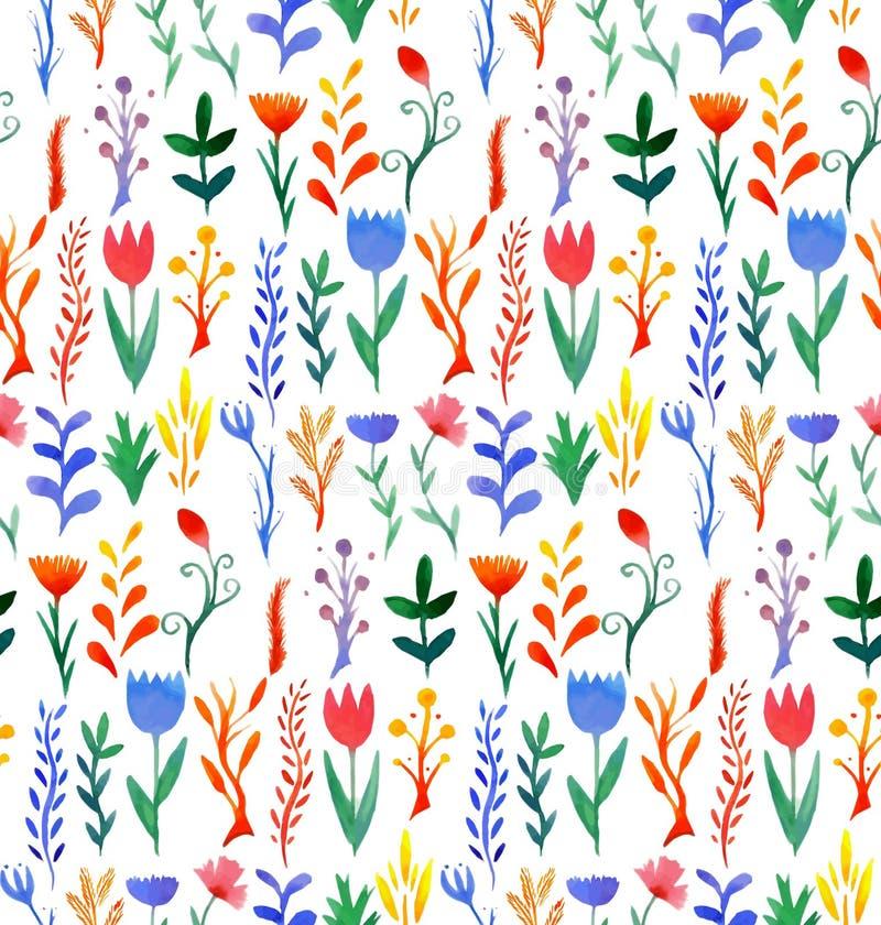 Modelo inconsútil con la acuarela multicolora de las flores ilustración del vector