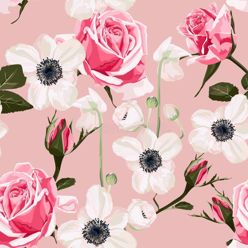 Modelo inconsútil con la anémona y el fondo rosado de las rosas libre illustration