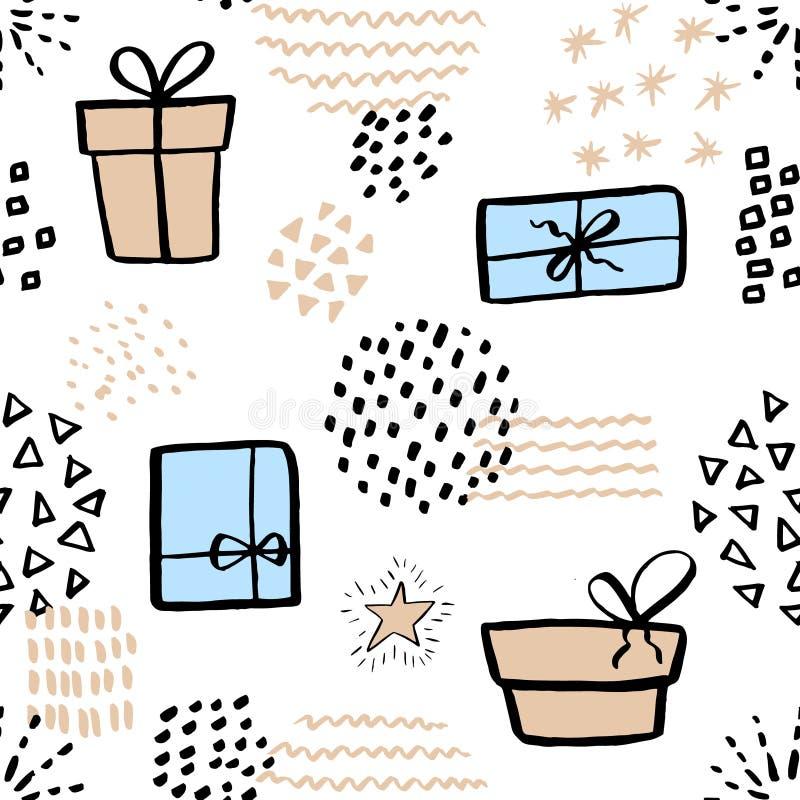 Modelo inconsútil con la caja de regalo linda Ilustración drenada mano Fondo con los elementos abstractos ilustración del vector
