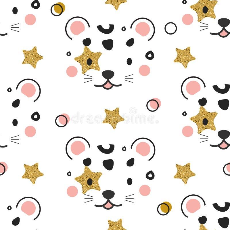 Modelo inconsútil con la cara del leopardo Animal de la selva en estilo escandinavo El fondo para los niños forma impresiones y l ilustración del vector