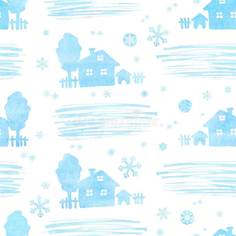 Modelo inconsútil con la casa y la nieve de la Navidad del invierno de la acuarela stock de ilustración