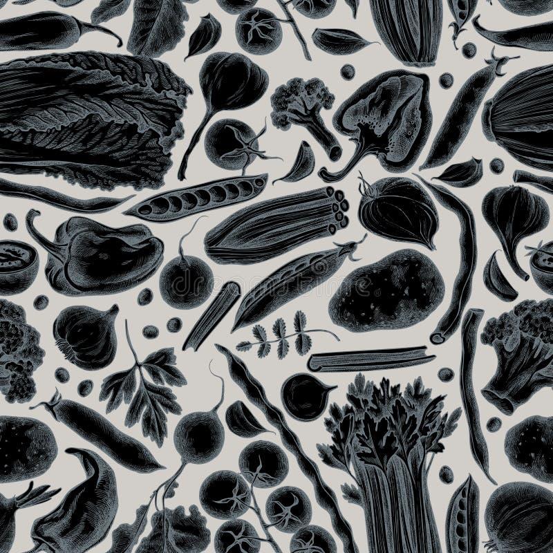 Modelo inconsútil con la cebolla estilizada exhausta de la mano, ajo, pimienta, bróculi, rábano, habas verdes, patatas, cereza stock de ilustración