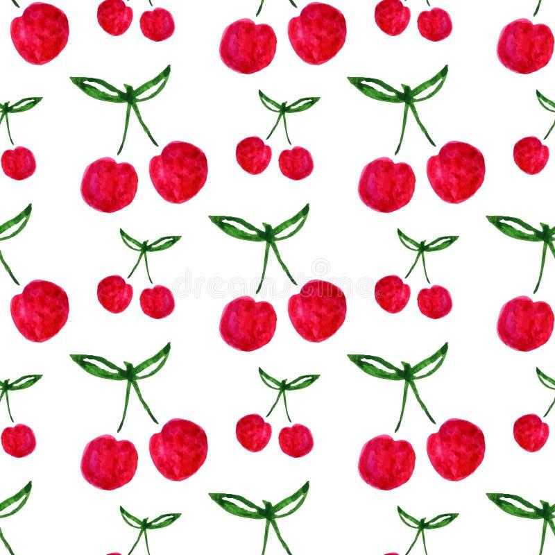 Modelo inconsútil con la cereza de la acuarela Textura sin fin del fondo de la impresión Diseño de la tela Vector de la fruta de  ilustración del vector