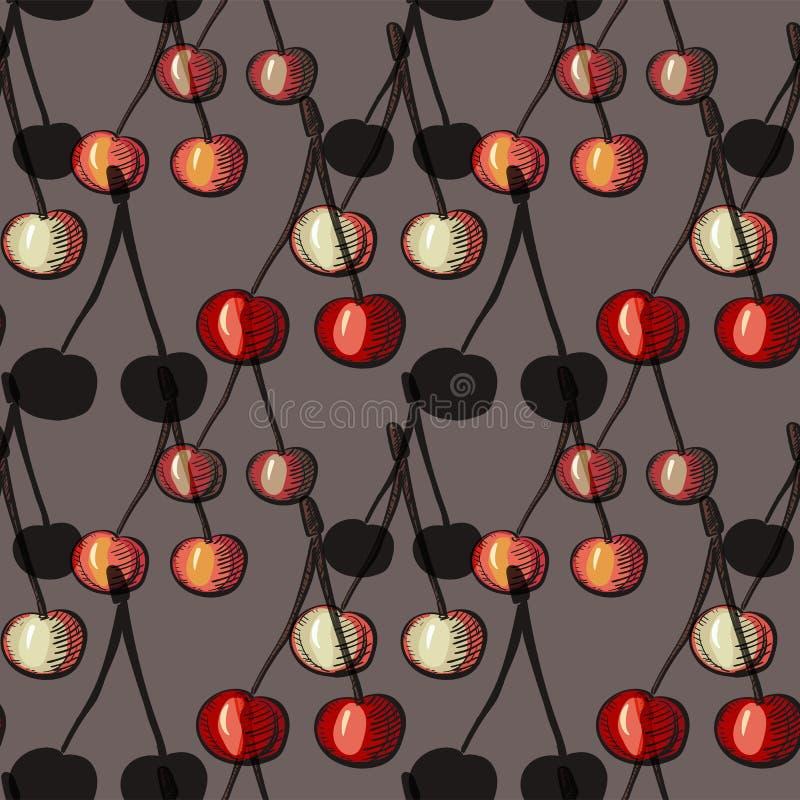 Modelo inconsútil con la cereza en fondo gris, para el diseño del menú, tela, ropa, tarjetas, envolviendo libre illustration