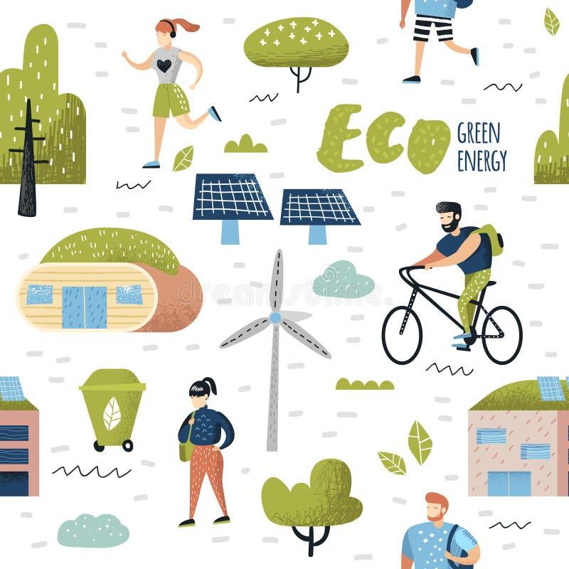 Modelo inconsútil con la ciudad verde Protección ambiental Tecnologías futuras de la ciudad de Eco para la preservación del plane libre illustration