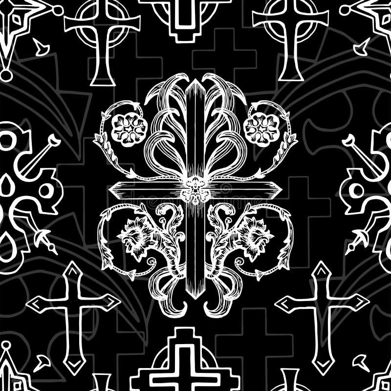 Modelo inconsútil con la cruz barroca blanca de la fantasía en negro stock de ilustración