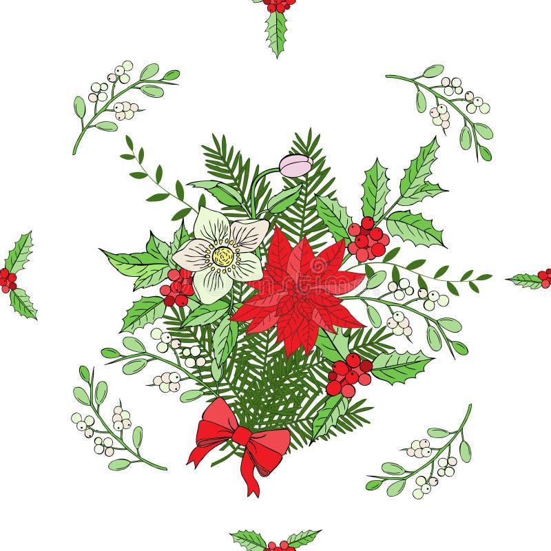 Modelo inconsútil con la decoración de la Navidad ilustración del vector