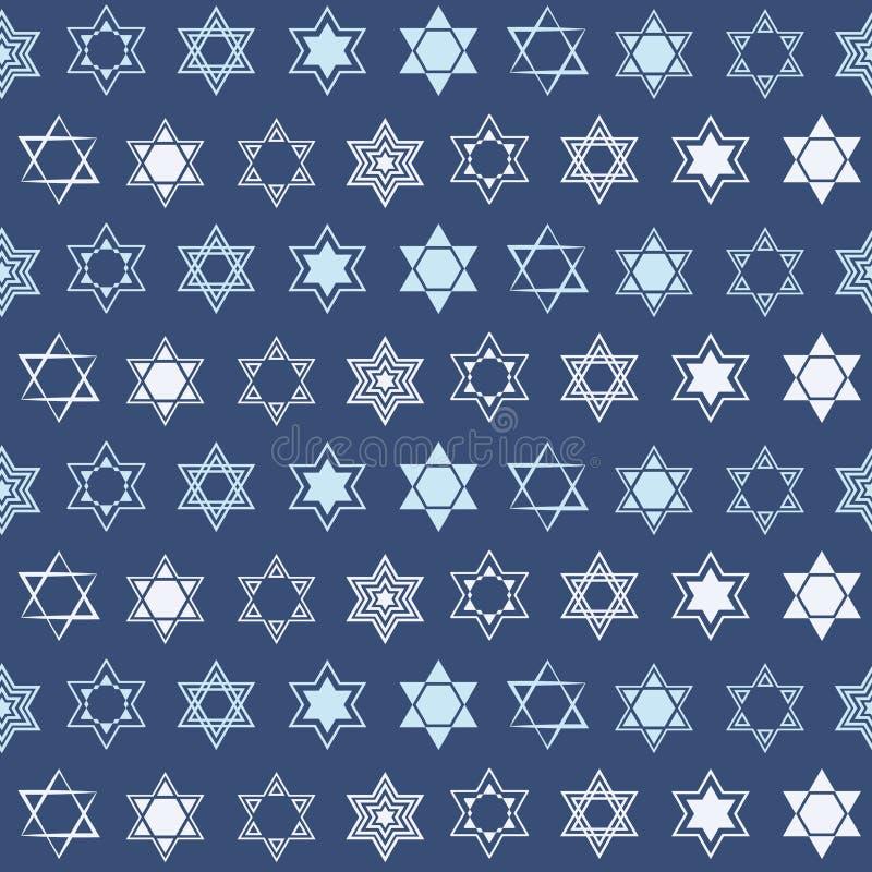 Modelo inconsútil con la estrella del símbolo judío tradicional de David ilustración del vector