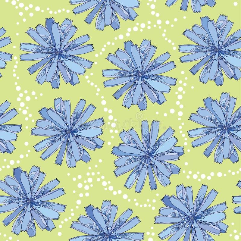 Modelo inconsútil con la flor adornada de la achicoria en azul en el fondo verde con los puntos Fondo floral en estilo del contor ilustración del vector