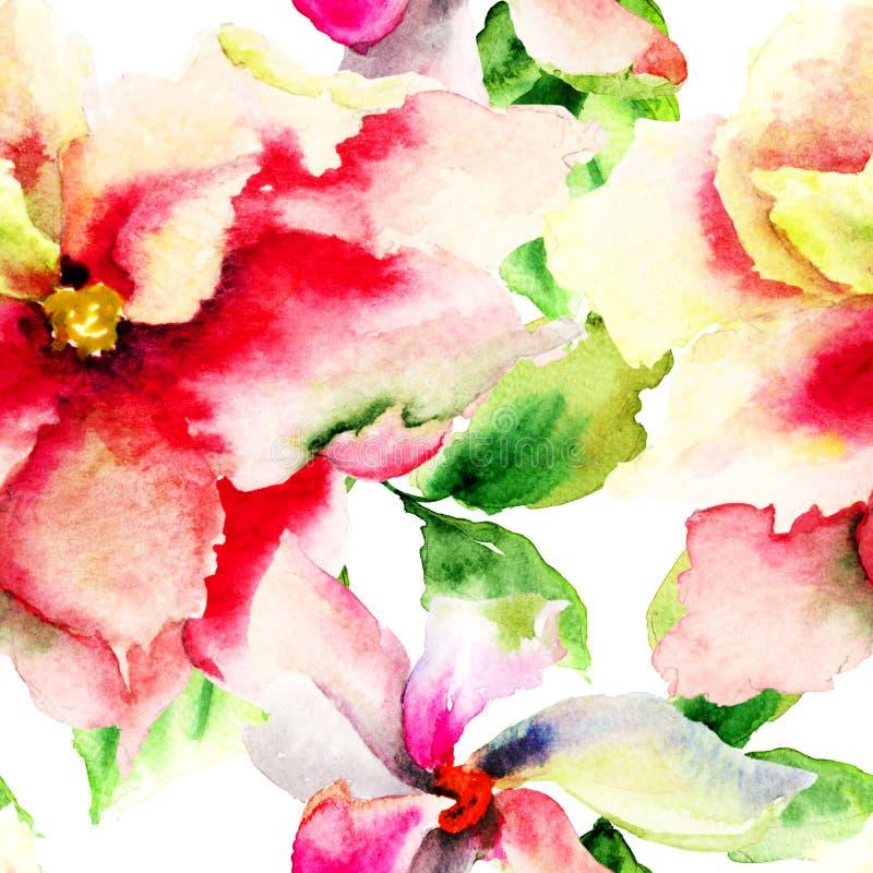 Modelo inconsútil con la flor decorativa libre illustration