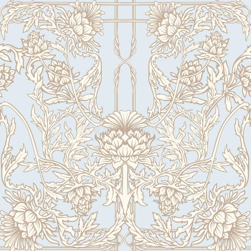 Modelo inconsútil con la flor del cardo, fondo en el estilo del art nouveau de n, vintage, viejo, retro estilo n libre illustration
