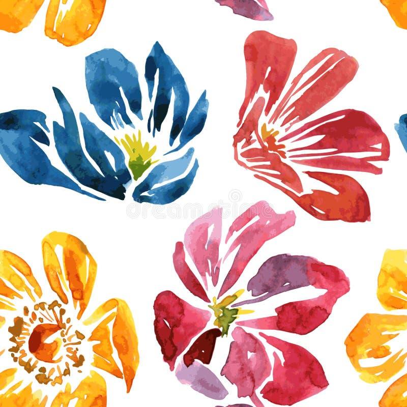 Modelo inconsútil con la flor del dibujo de la acuarela stock de ilustración