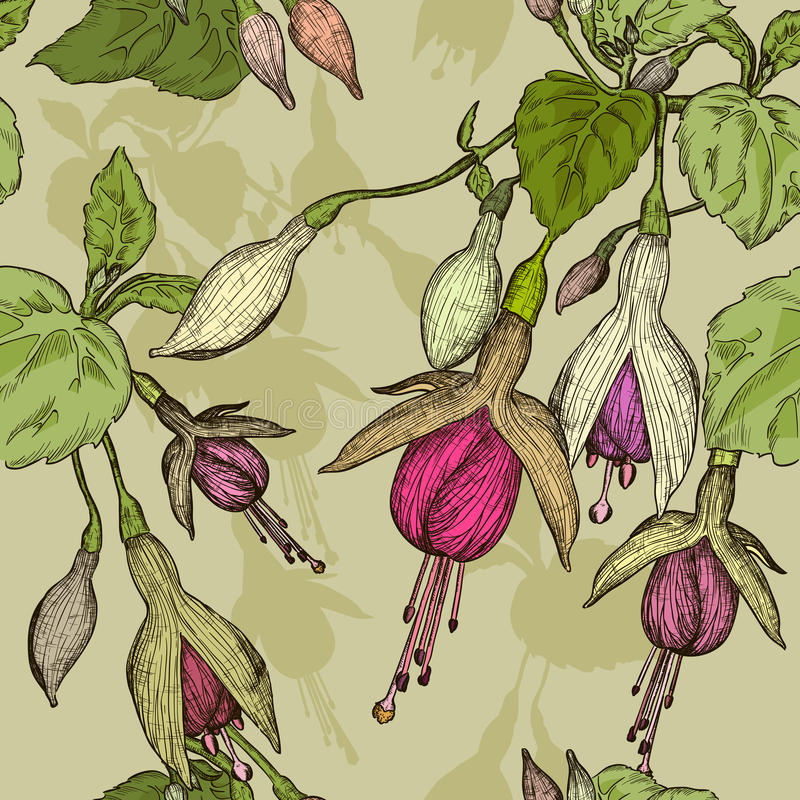 Modelo inconsútil con la flor fucsia stock de ilustración