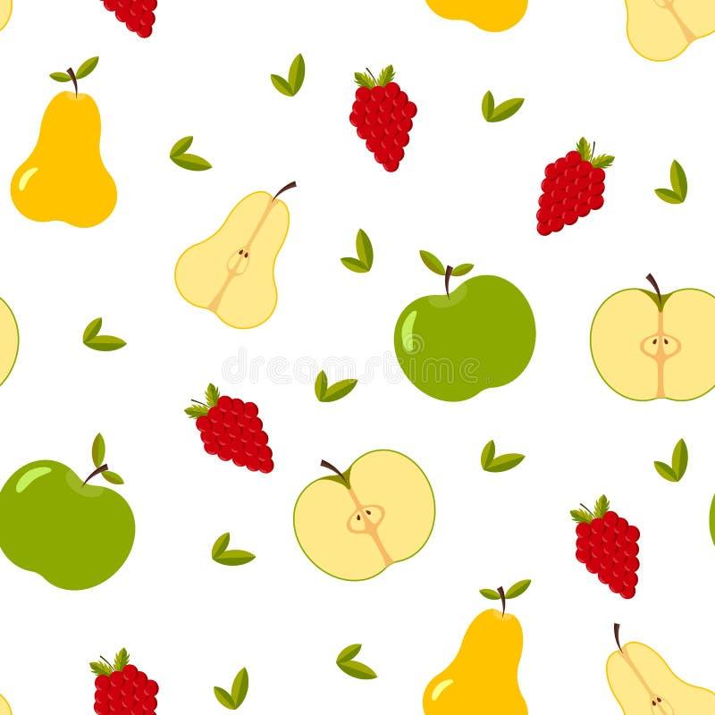 Modelo inconsútil con la fruta entera y cortada del verano, hojas, bayas stock de ilustración