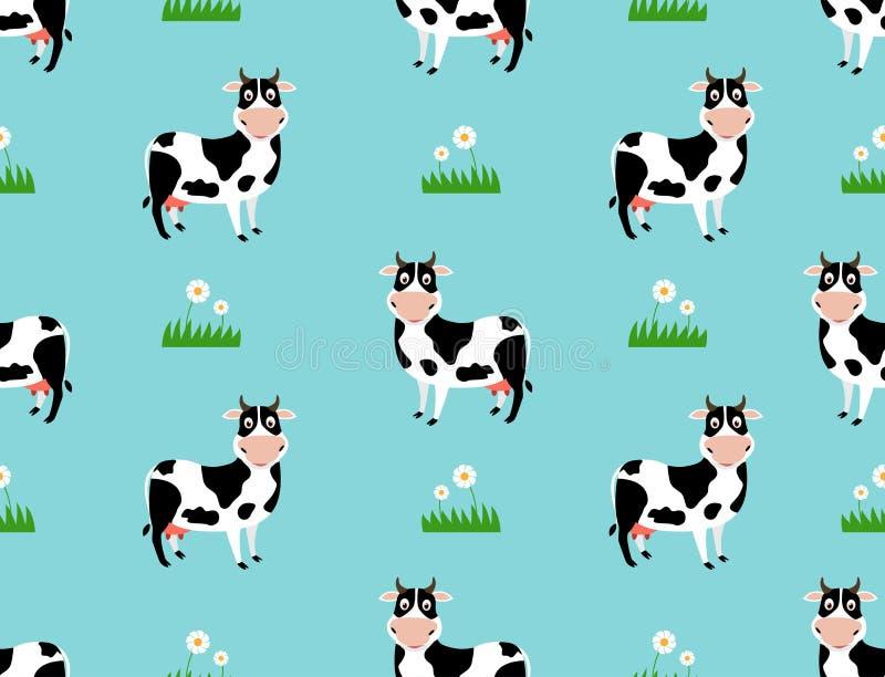 Modelo inconsútil con la historieta linda de la vaca en fondo del campo stock de ilustración