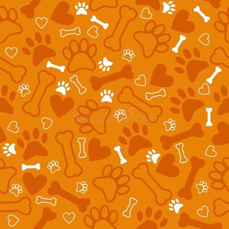 Modelo inconsútil con la impresión, el hueso y los corazones de la pata del perro CCB anaranjado ilustración del vector