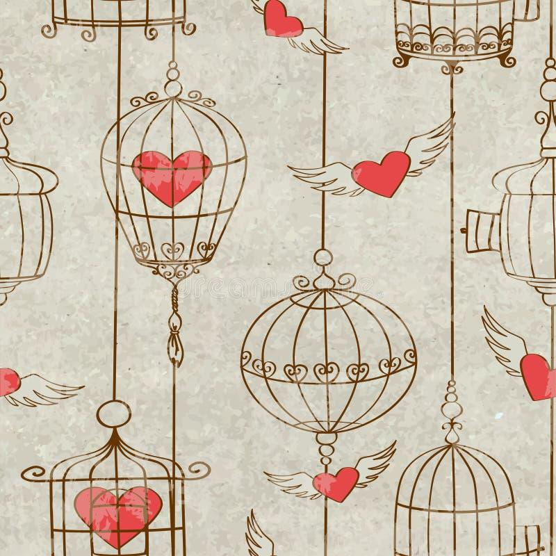 Modelo inconsútil con la jaula y los corazones de pájaros stock de ilustración