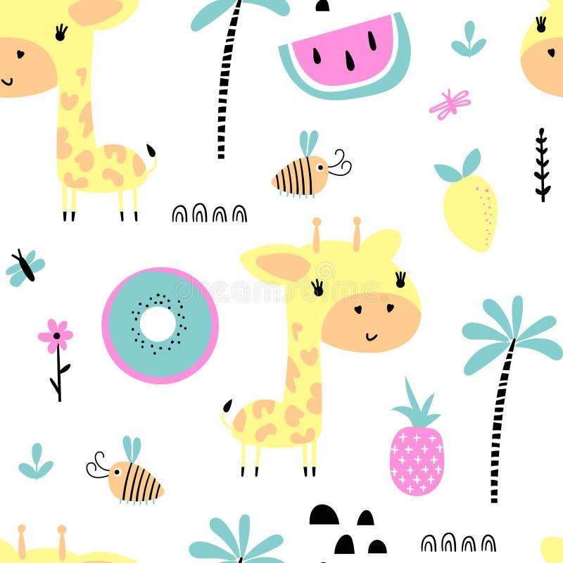 Modelo inconsútil con la jirafa linda ilustración del vector