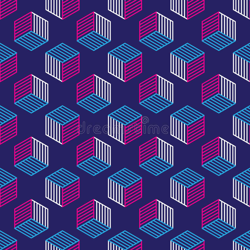 Modelo inconsútil con la línea cubos isométricos del estilo libre illustration