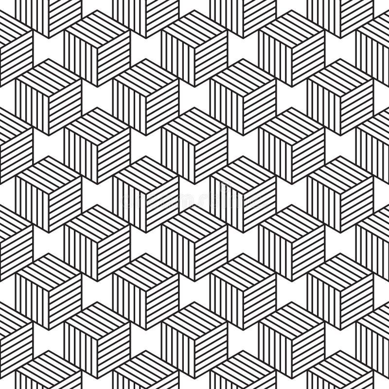 Modelo inconsútil con la línea cubos isométricos del estilo ilustración del vector