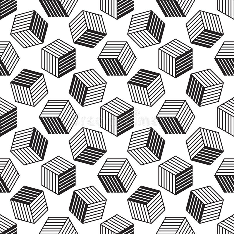 Modelo inconsútil con la línea cubos isométricos del estilo stock de ilustración