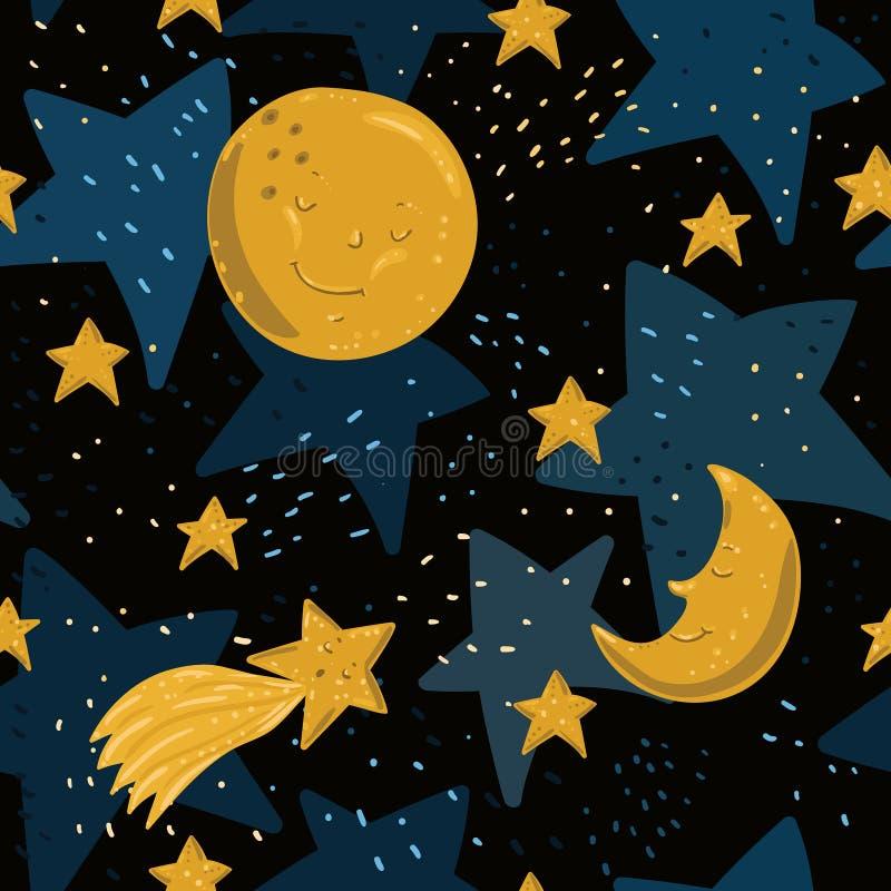 Modelo inconsútil con la luna, las estrellas y el cometa amarillos con las caras en fondo negro del cielo en estilo de la histori ilustración del vector