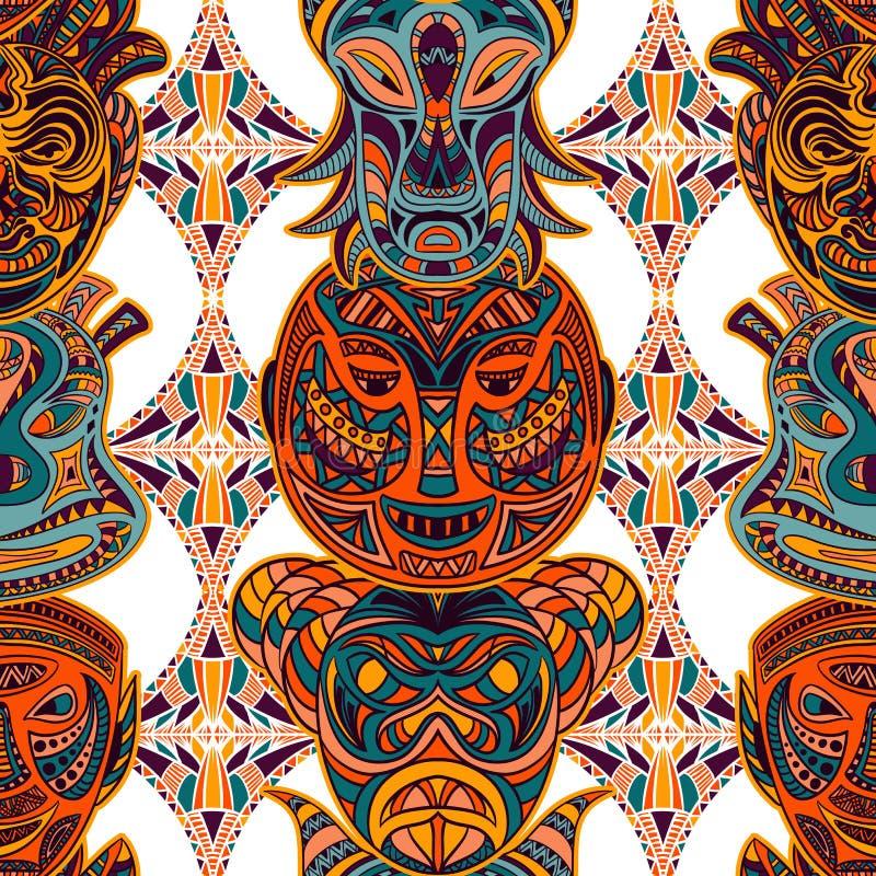 Modelo inconsútil con la máscara tribal y el ornamento latinoamericano geométrico azteca Vector dibujado mano colorida libre illustration