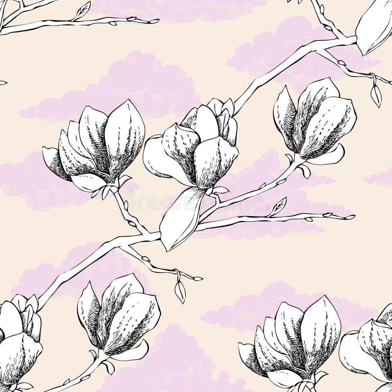 Modelo inconsútil con la magnolia libre illustration