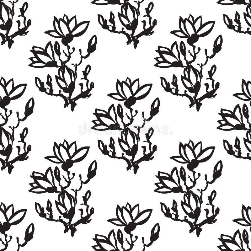 Modelo inconsútil con la magnolia de la ramita, estilo chino stock de ilustración