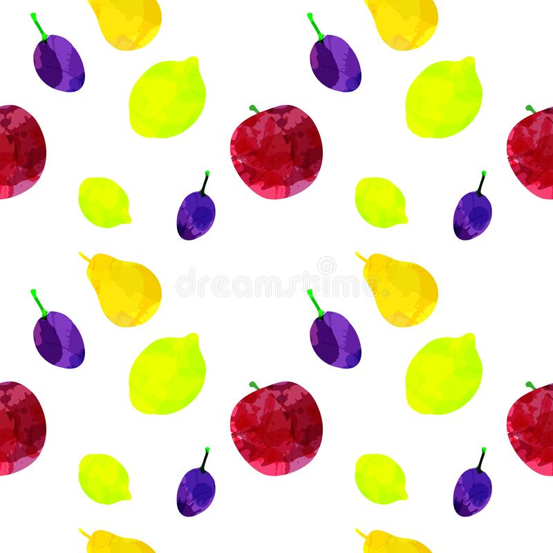 Modelo inconsútil con la manzana, el limón, la pera, el ciruelo con las manchas blancas /negras y las manchas en un fondo blanco  libre illustration