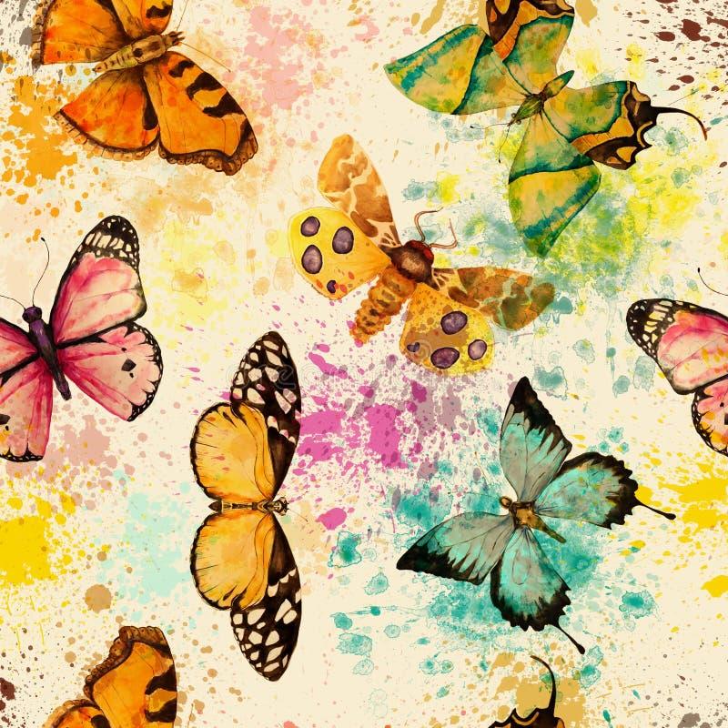 Modelo inconsútil con la mariposa de la acuarela ilustración del vector